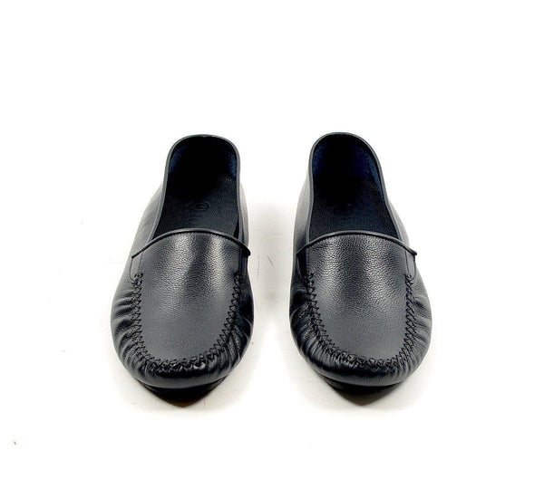 Leather Car Shoe - Navy - Ron Tomson