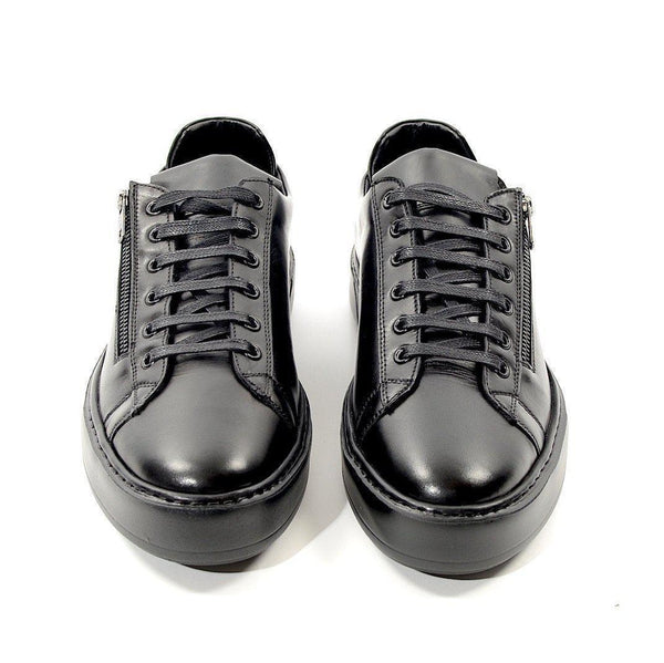 Leather Contrast Zipper Sneaker - Ron Tomson