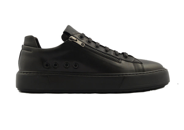 Leather Contrast Zipper Sneaker