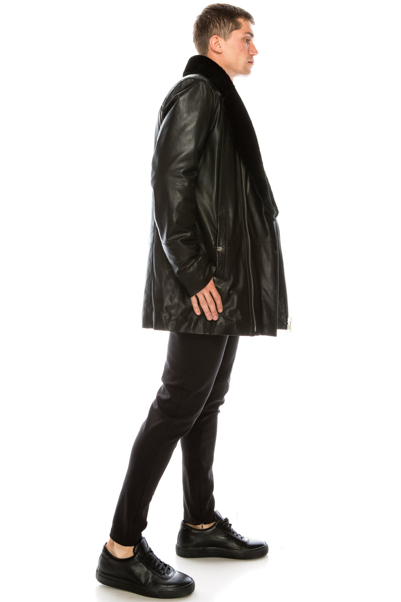 Leather Jacket - Black - 71178