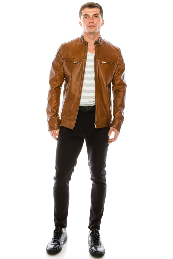 Leather Jacket - Light Brown - Ron Tomson