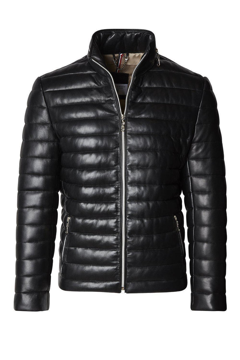 Leather Puffer Jacket - Black