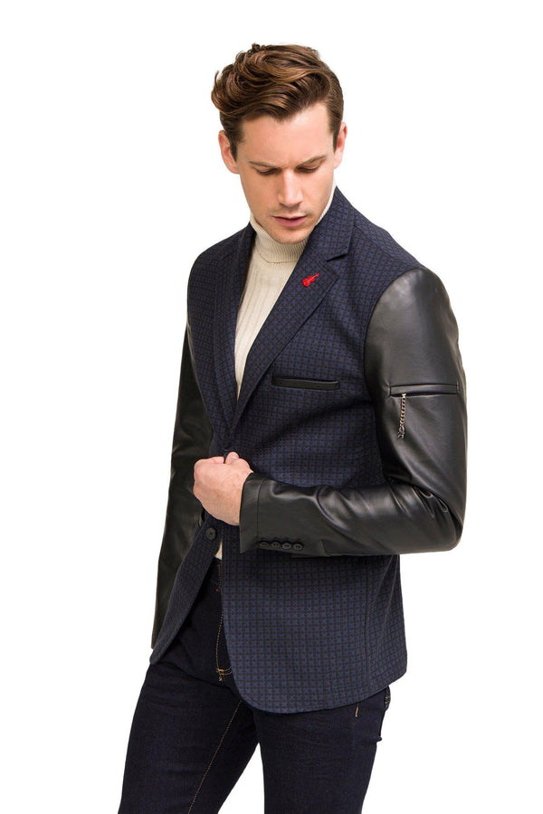 Leather Sleeve Two-Button Blazer - Navy