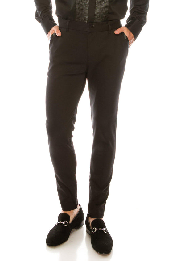 Leather - Trim Tapered Trousers Four Way Stretch - Black - Ron Tomson