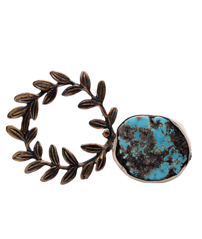 Leaves and Turquoise Stone Pendant Brooch