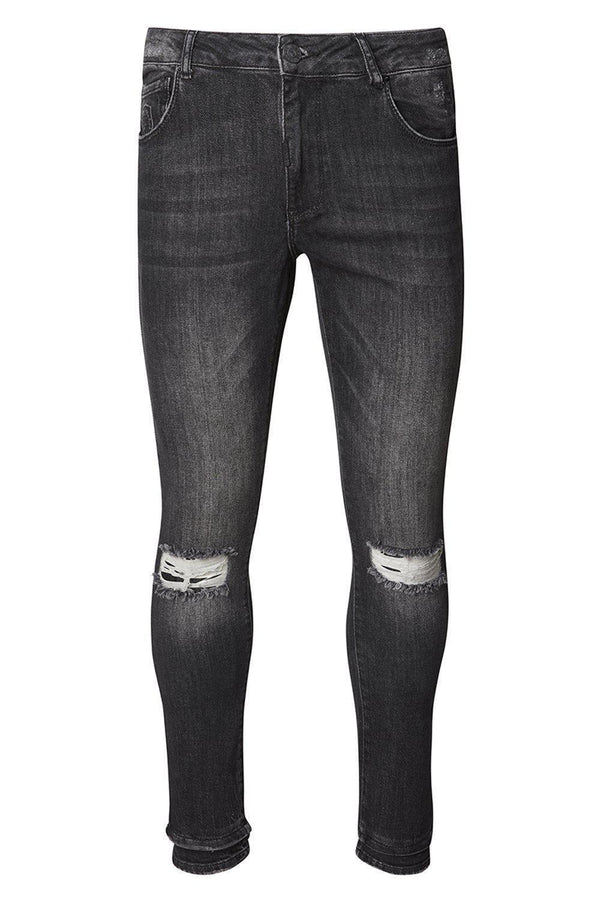 Let-Out Hem Knee Distressed Slim Fit Jeans - Black