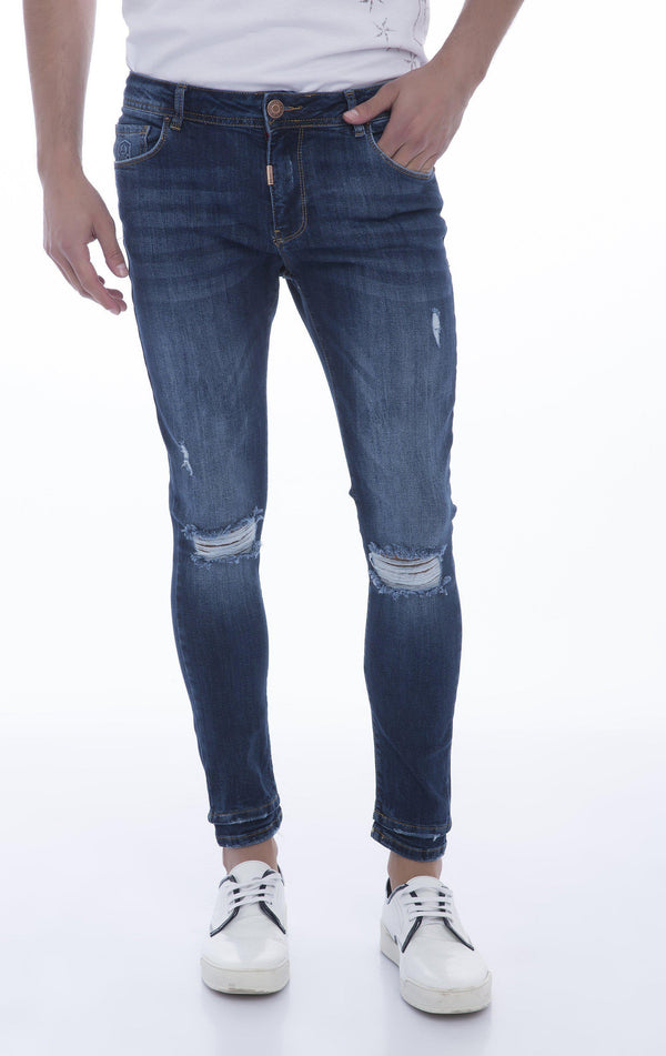 Let-out Hem Knee Distressed Skinny Jeans-JEANS-RON TOMSON-NAVY-29-Ron Tomson