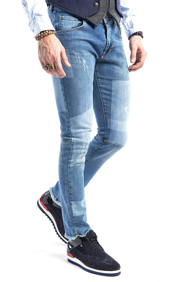 Light Washed Patch Jeans - More Colors-Jeans-Ron Tomson-BLUE-29-Ron Tomson