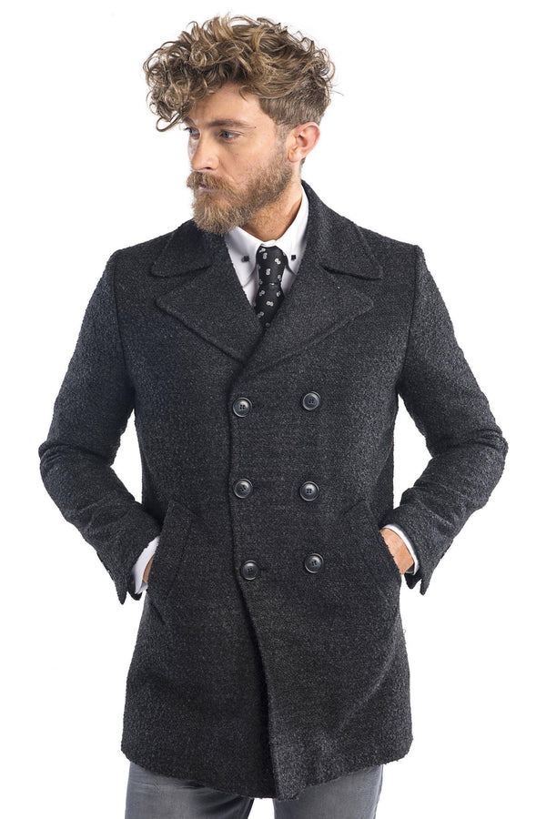 Lightweight double breasted boucle pea coat - Antracite