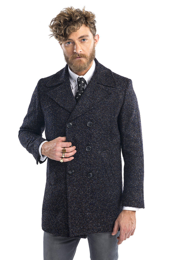 Lightweight double breasted boucle pea coat - Brown