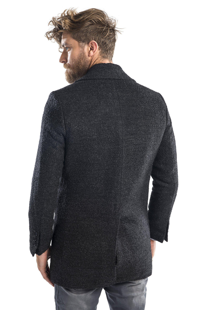 Lightweight double breasted boucle pea coat - Light Antracite - Ron Tomson