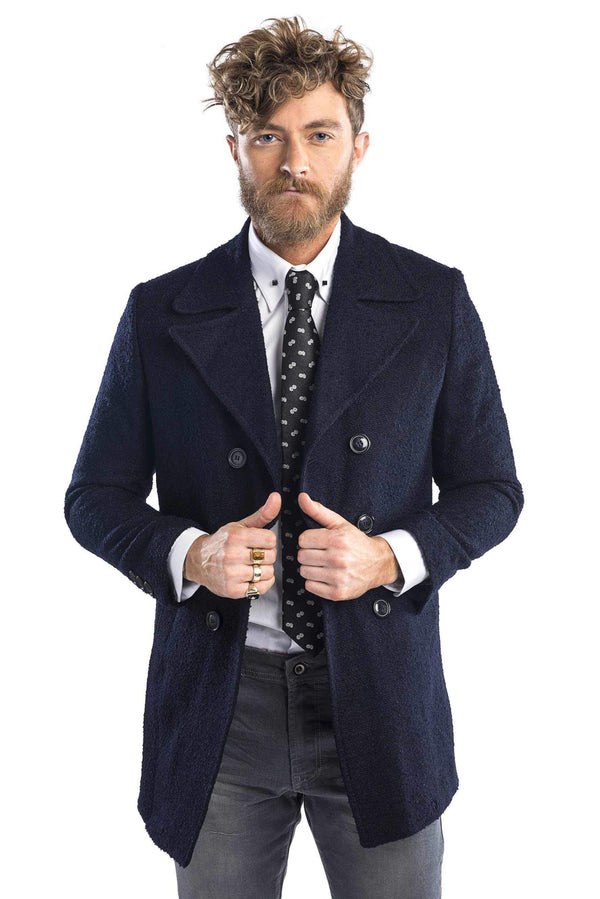 Lightweight double breasted boucle pea coat - more colors-Outerwear-Ron Tomson-NAVY-M-Ron Tomson