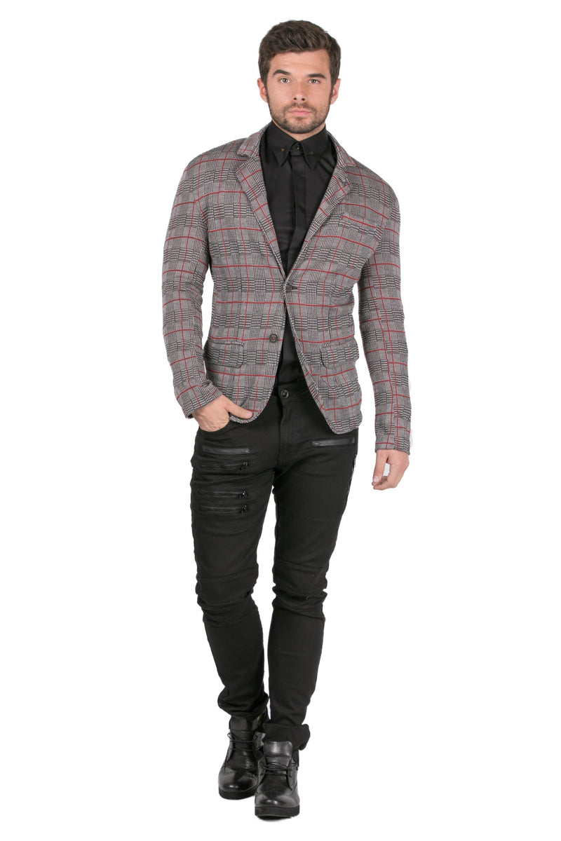Lightweight Fitted Casual Blazer - Grey - Ron Tomson
