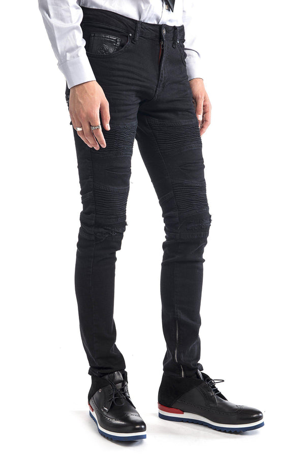 Lightweight Flap Pocket Moto Jeans - More Colors-Jeans-Ron Tomson-BLACK-29-Ron Tomson