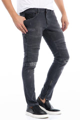 Lightweight Flap Pocket Moto Jeans - GREY - Ron Tomson