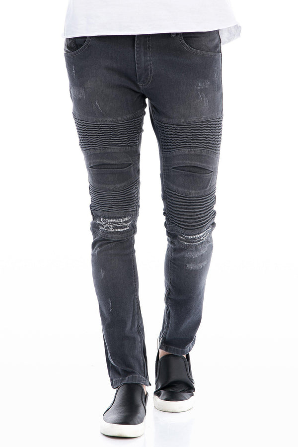 Lightweight Flap Pocket Moto Jeans - More Colors-Jeans-Ron Tomson-GREY-29-Ron Tomson