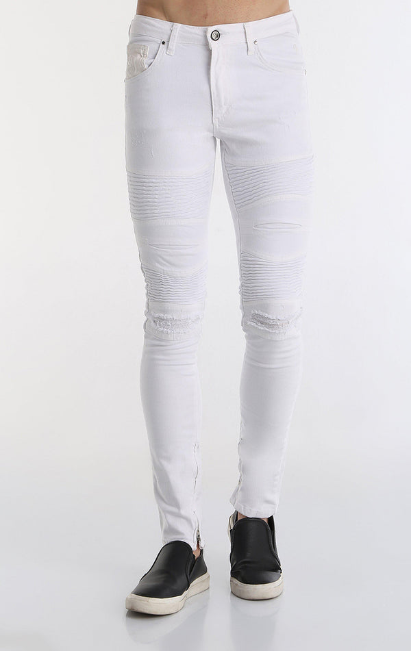 Lightweight Flap Pocket Moto Jeans - More Colors-Jeans-Ron Tomson-WHITE-29-Ron Tomson