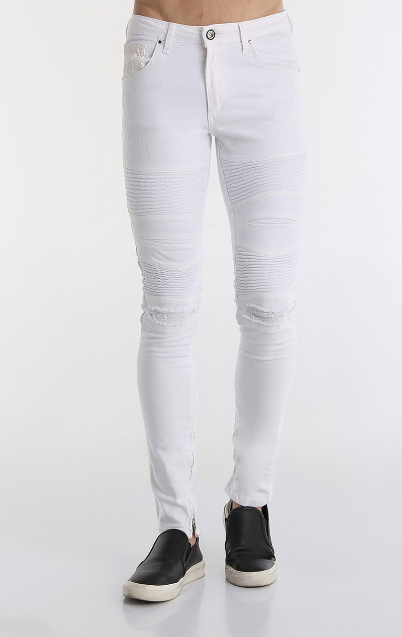 Lightweight Flap Pocket Moto Jeans - WHITE - Ron Tomson