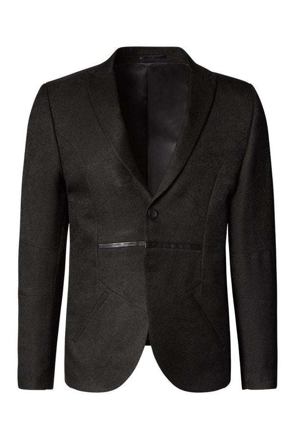LIGHTWEIGHT GEOMETRIC BLAZER BLACK - Ron Tomson