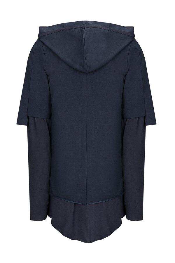 LIGHTWEIGHT LAYERED ZIP HO0DIE - NAVY