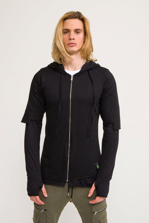 LIGHTWEIGHT LAYERED ZIP HOODIE - BLACK