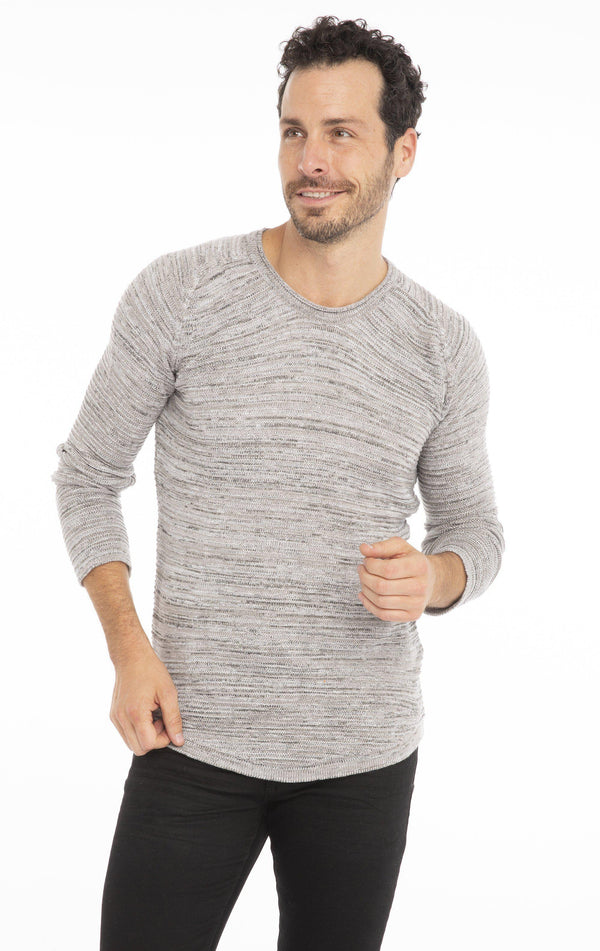Lightweight Stretch Fitted Sweater - Light Grey - Ron Tomson