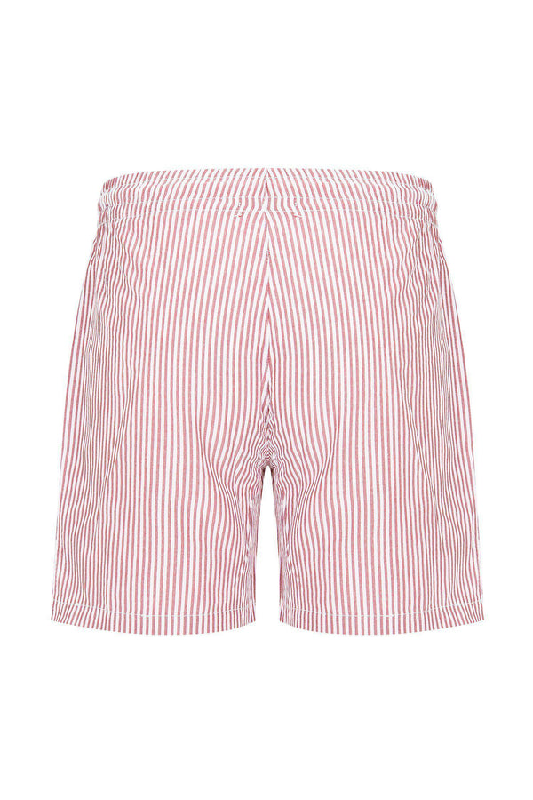 LIGHTWEIGHT STRIPED SHORTS - BURGUNDY