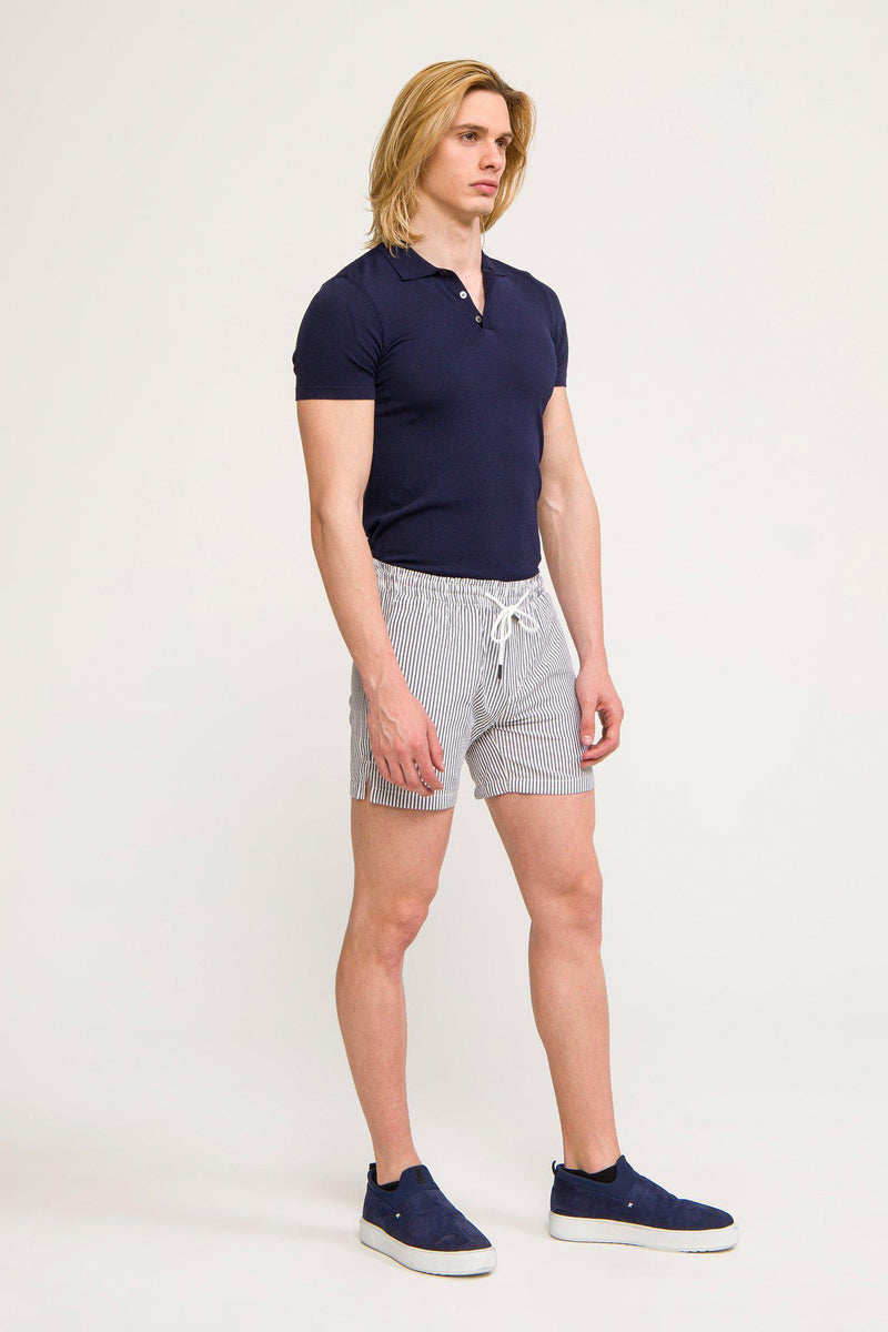 LIGHTWEIGHT STRIPED SHORTS - DARK NAVY