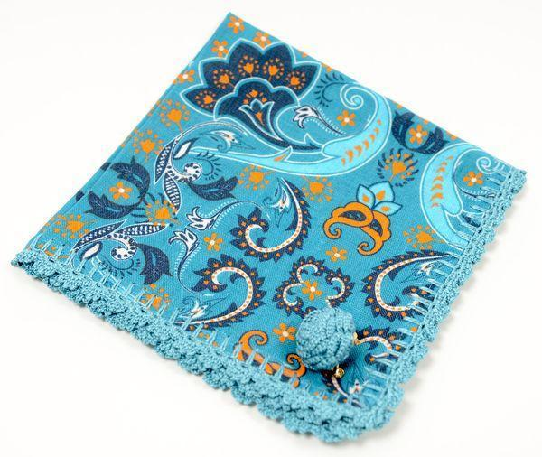 Linen Pocket Square  - Teal - Ron Tomson