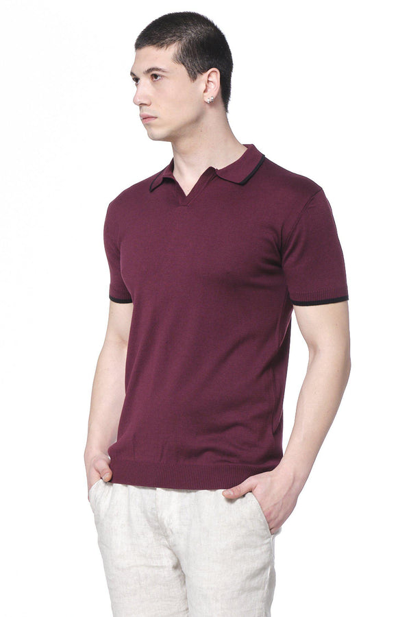 Lite Open Collar Polo - Burgundy - Ron Tomson