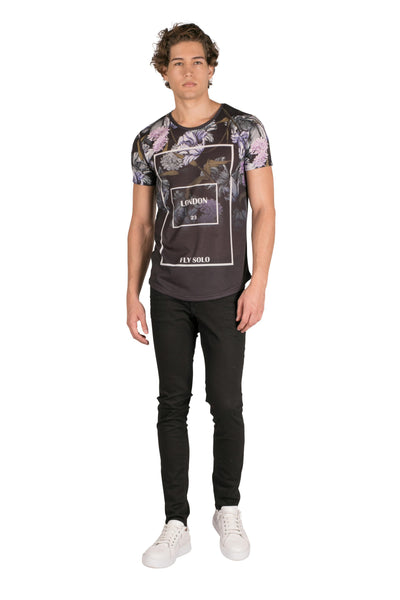 All Over Print Graphic T shirt-T-shirts-RON TOMSON-BLACK-S-Ron Tomson