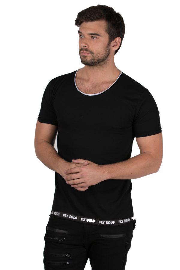 Long Cord Layered Look T-shirt-T-Shirt-Ron Tomson-BLACK-S-Ron Tomson