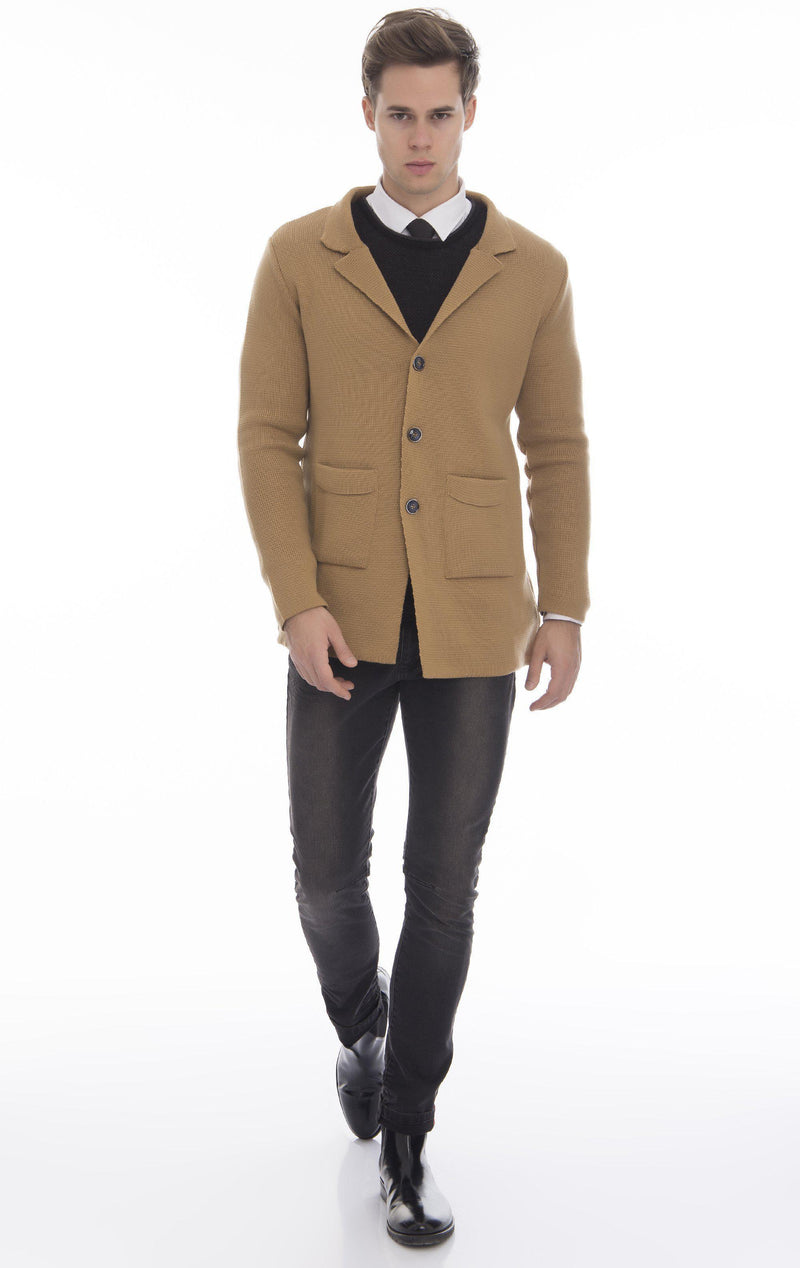 Long Fitted Knit Cardigan - Camel - Ron Tomson