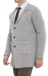 Long Fitted Knit Cardigan - Grey - Ron Tomson