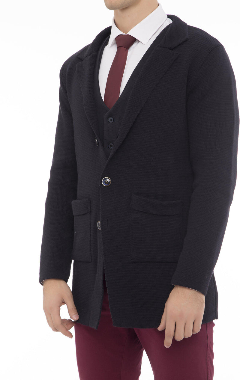 Long Fitted Knit Cardigan - Navy - Ron Tomson