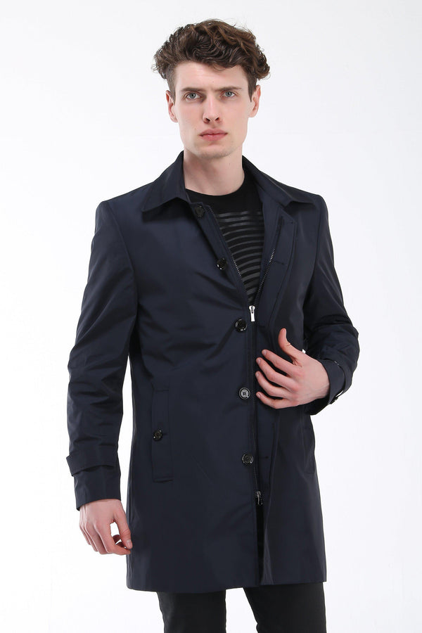 Long Line Dressy Raincoat - Navy