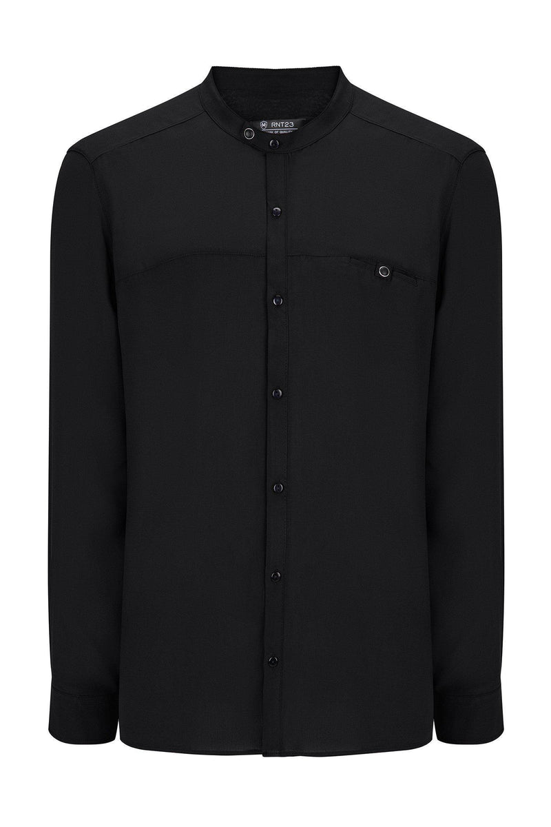 Long Sleeve Cotton Shirt - Black - Ron Tomson