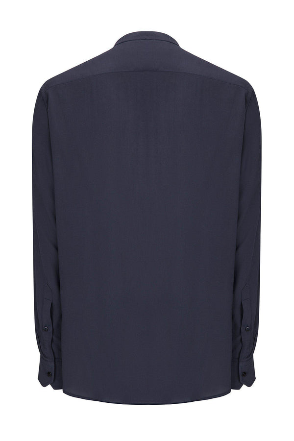 Long Sleeve Cotton Shirt - Navy