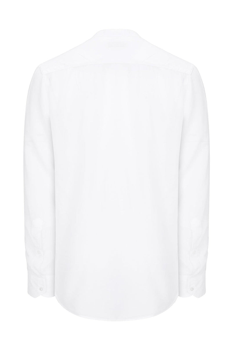 Long Sleeve Cotton Shirt - White - Ron Tomson