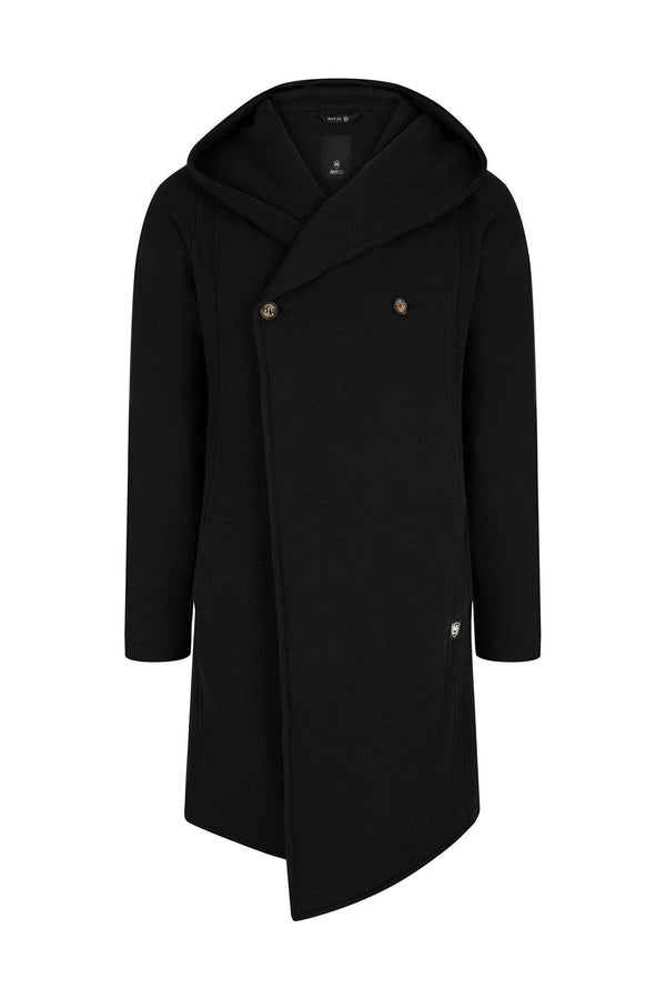 Longline Button Closure Cardigan - Black - Ron Tomson