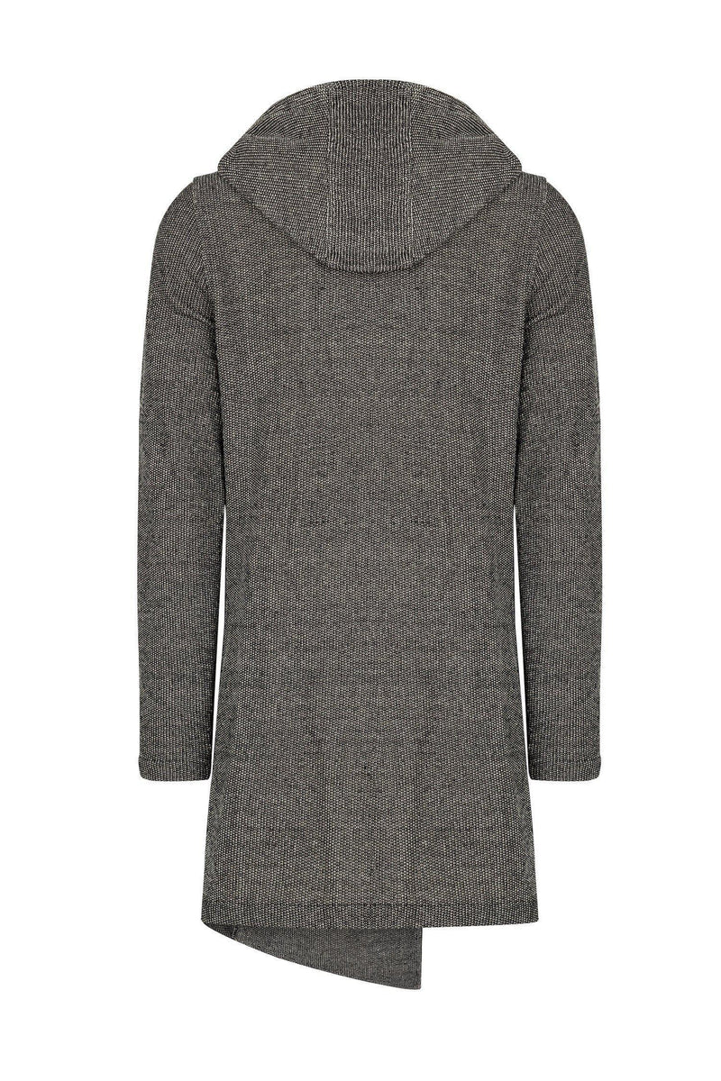 Longline Button Closure Cardigan - Black White - Ron Tomson