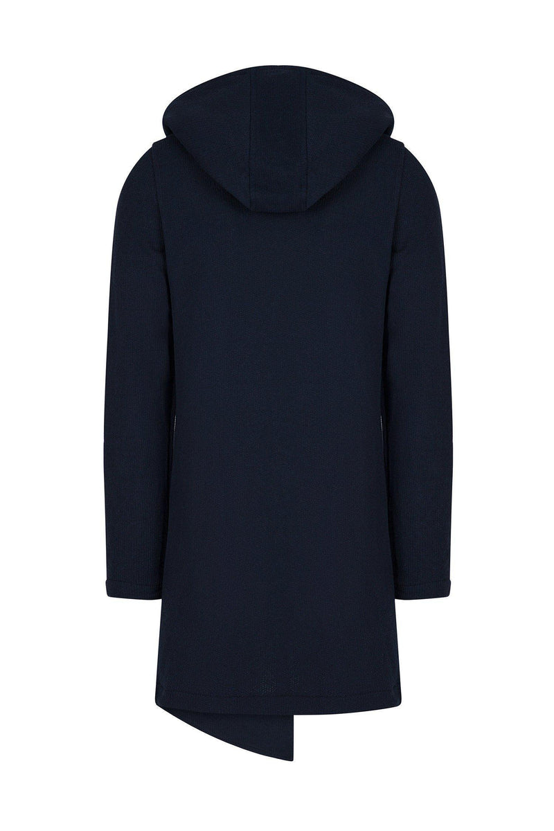 Longline Button Closure Cardigan - Navy - Ron Tomson