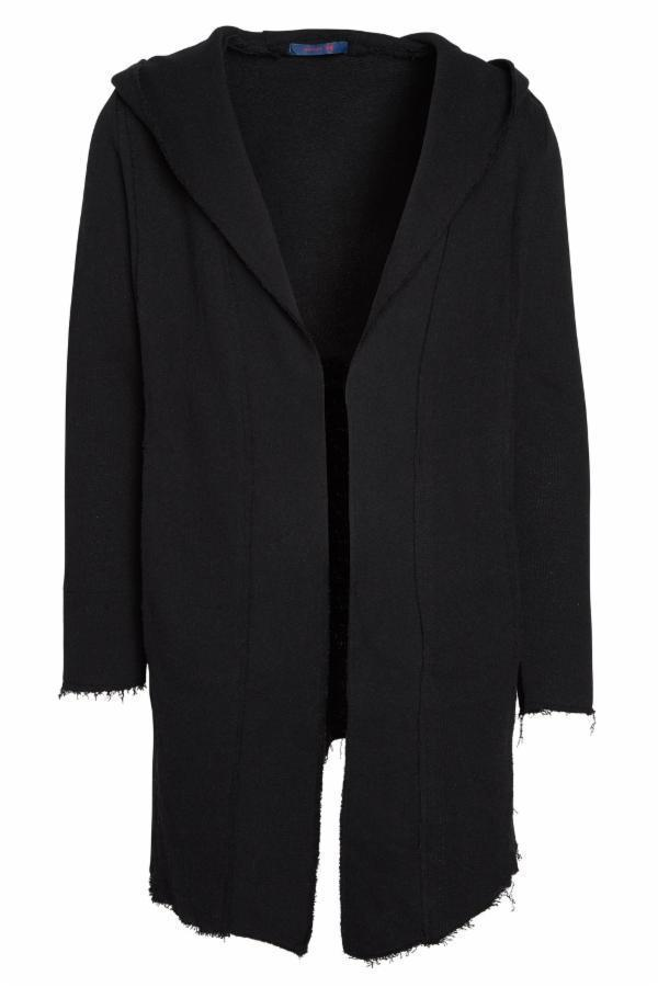 Longline Hooded Cardigan - Black - Ron Tomson
