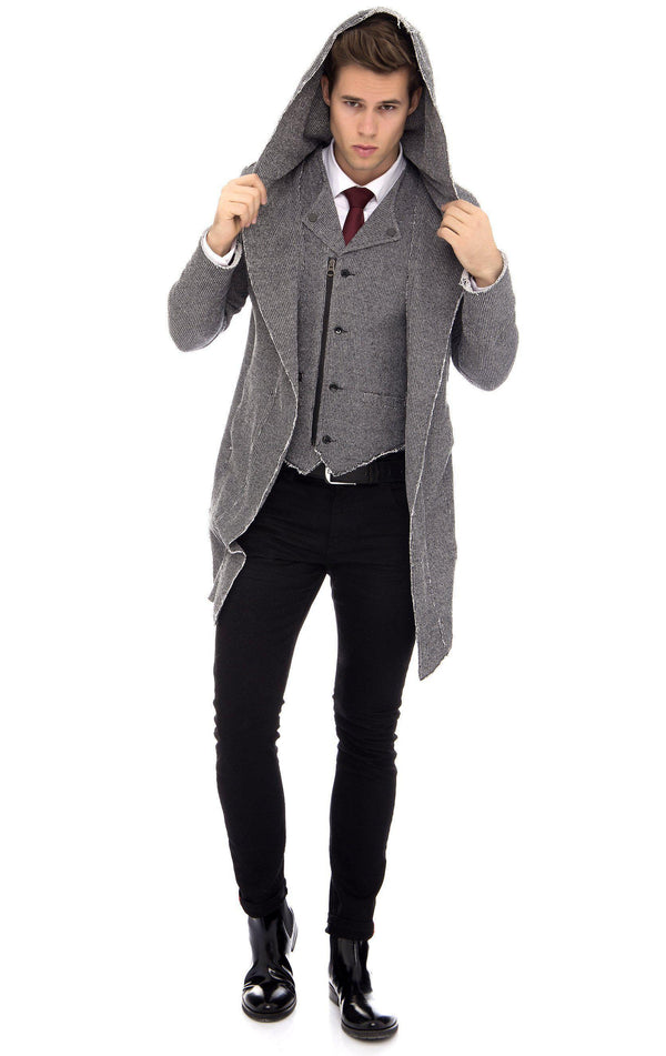 Longline Hooded Cardigan - more colors-Knitwear-Ron Tomson-BLACK WHITE-M-Ron Tomson
