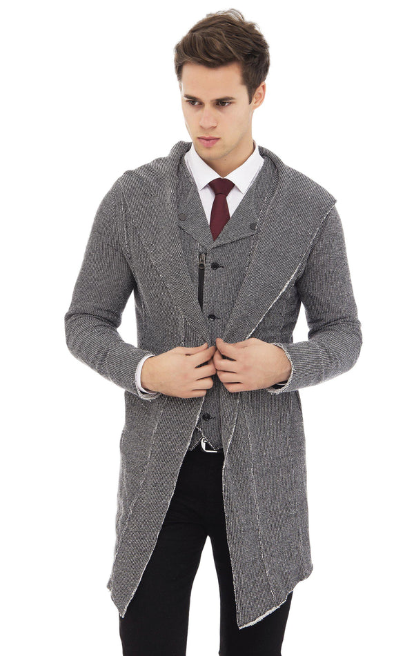 Longline Hooded Cardigan - Black White - Ron Tomson