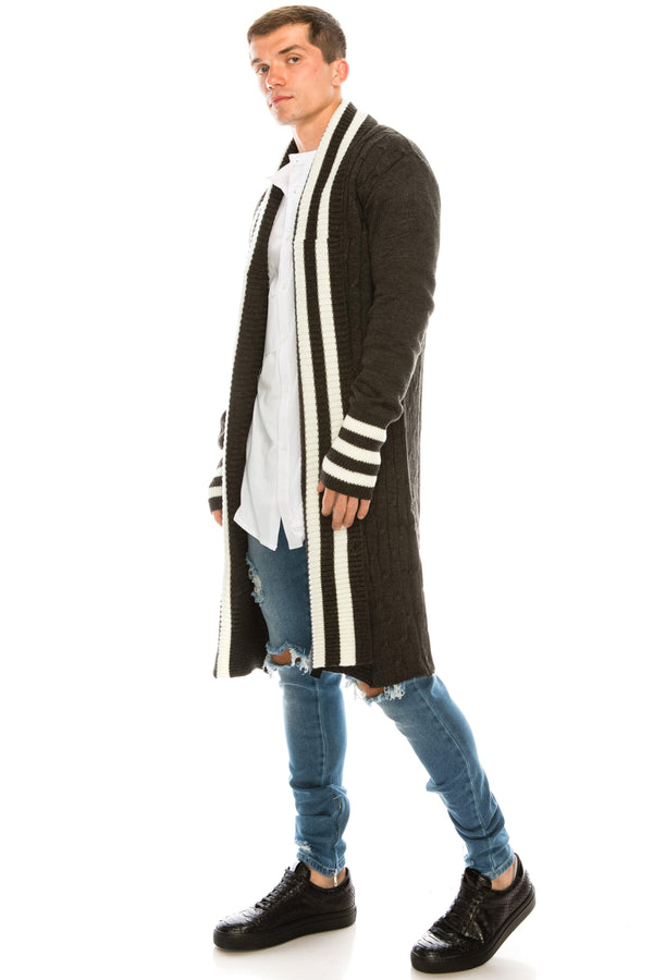 LONGLINE STRIPE COLLAR CARDIGAN - Grey White - Ron Tomson