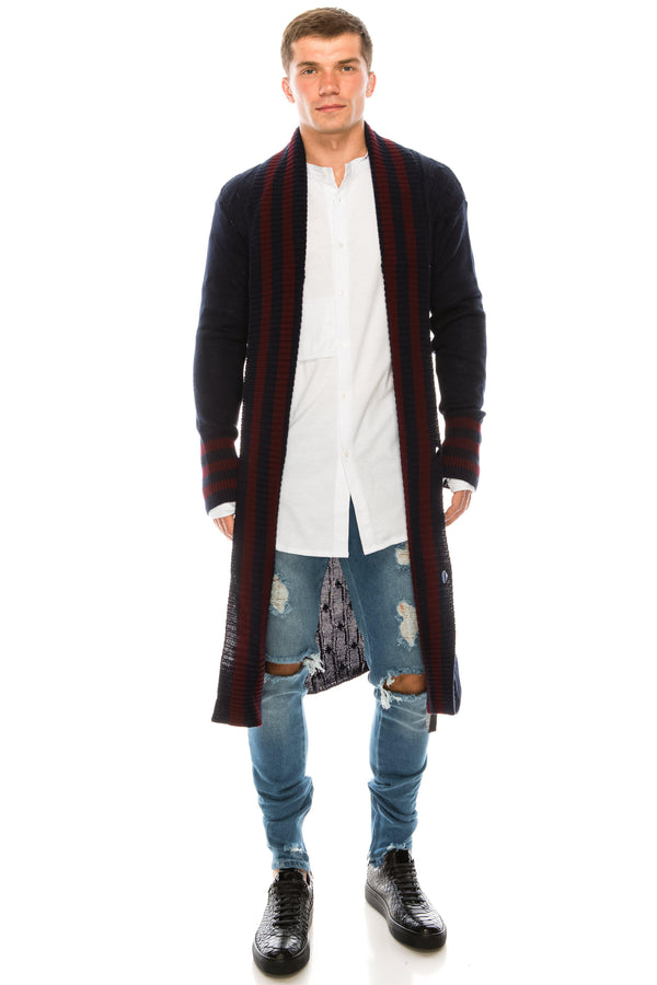 LONGLINE STRIPE COLLAR CARDIGAN  - Navy Burgundy - Ron Tomson