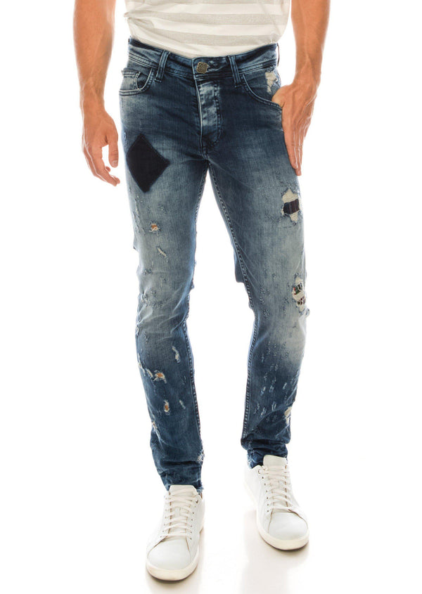 Low Rise Slim Tapered Blue Jean - Ron Tomson