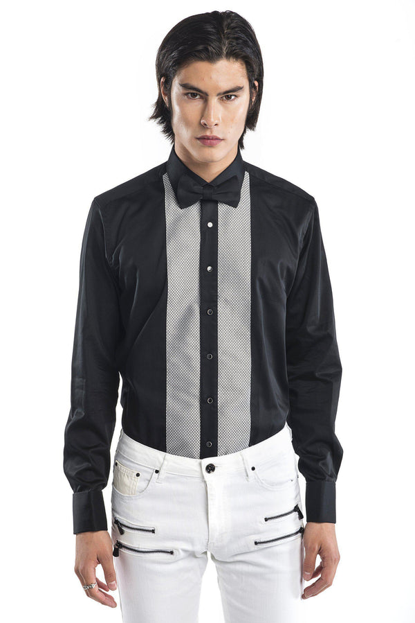 Lurex Paneled Tuxedo Shirt - More Colors-Shirts-Ron Tomson-BLACK GREY-S-Ron Tomson