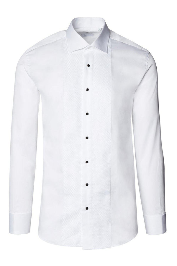 Lurex Paneled Spread Collar Shirt - White White